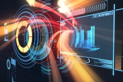 Sammansatt bild av den digitalt frambragda bilden av volymknoppen med grafiska data 3d Arkivfoto