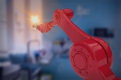 Sammansatt bild av den grafiska bilden av den hållande glödtråden 3d för robotic hand stock illustrationer