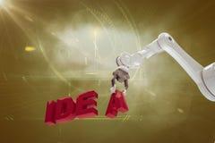 Sammansatt bild av den grafiska bilden av den robotic armen som ordnar idétext 3d Royaltyfri Foto