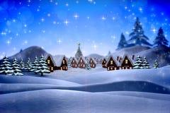 Sammansatt bild av den gulliga julbyn Fotografering för Bildbyråer