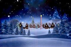Sammansatt bild av den gulliga julbyn Royaltyfri Fotografi
