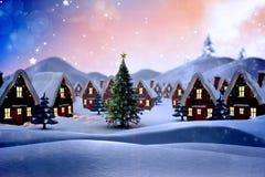 Sammansatt bild av den gulliga julbyn Royaltyfri Foto