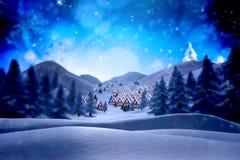 Sammansatt bild av den gulliga julbyn Royaltyfria Foton