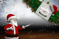 Sammansatt bild av den gulliga tecknade filmen Santa Claus Arkivfoto