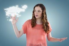 Sammansatt bild av den härliga unga kvinnan som gör en gest 3d Arkivfoto