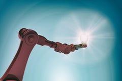Sammansatt bild av den illustrativa bilden av den hållande glödtråden 3d för robotic hand stock illustrationer