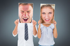 Sammansatt bild av den ilskna mannen som ropar in mot kamera royaltyfria foton