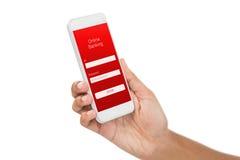 Sammansatt bild av den kantjusterade bilden av den smarta telefonen för affärskvinnainnehav Arkivfoto