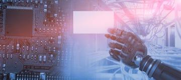 Sammansatt bild av den kantjusterade bilden av det digitala sammansatta robotic plakatet 3d för mellanrum för arminnehav Fotografering för Bildbyråer