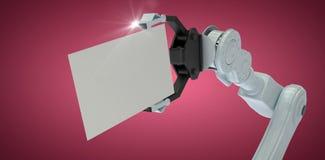 Sammansatt bild av den kantjusterade bilden av plakatet 3d för robothandinnehav Arkivbild