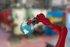 Sammansatt bild av den kantjusterade bilden av röd jord 3d för robothandinnehav Royaltyfria Bilder