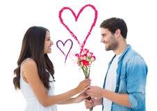 Sammansatt bild av den lyckliga hipsteren som ger hans flickvän rosor Arkivbild