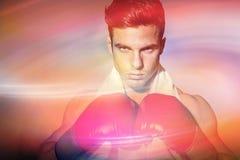 Sammansatt bild av den muskulösa boxaren royaltyfri fotografi