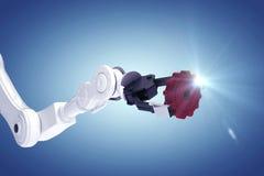 Sammansatt bild av den robotic armen med kugghjulet 3d Arkivfoto