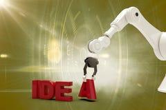 Sammansatt bild av den robotic armen som ordnar idétext 3d Arkivbild