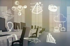 Sammansatt bild av den sammansatta bilden av datorsymboler på vit bakgrund 3d stock illustrationer