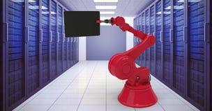 Sammansatt bild av den sammansatta bilden av den röda maskinen som rymmer den digitala minnestavlan 3d Royaltyfri Fotografi