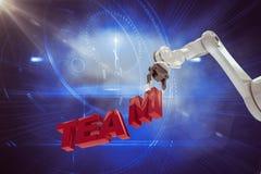 Sammansatt bild av den sammansatta bilden av den robotic armen som ordnar lagtext 3d Royaltyfri Foto