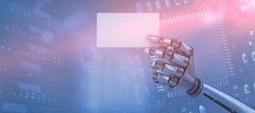 Sammansatt bild av den sammansatta bilden av det robotic vita plakatet 3d för arminnehav Royaltyfri Bild