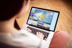 Sammansatt bild av den sammansatta bilden av olika video- och datorsymboler Fotografering för Bildbyråer