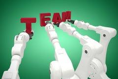 Sammansatt bild av den sammansatta bilden av robotar som bildar lagtext 3d Fotografering för Bildbyråer