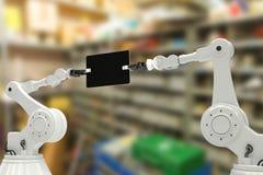 Sammansatt bild av den sammansatta bilden av robotar som rymmer den digitala minnestavlan 3d Arkivfoton