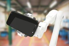 Sammansatt bild av den sammansatta bilden av roboten som rymmer den digitala minnestavlan 3d Fotografering för Bildbyråer