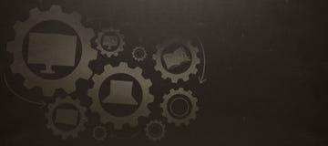 Sammansatt bild av den sammansatta bilden av utbildningssymboler på kugghjul Arkivfoto