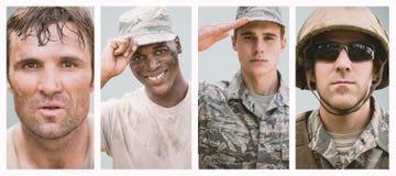 Sammansatt bild av den stängda ståenden av ett militärt fotografering för bildbyråer