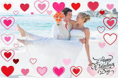 Sammansatt bild av den stiliga brudgummen som bär hans härliga blonda fru Royaltyfria Foton