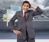 Sammansatt bild av den tänkande affärsmannen som skrapar huvudet Fotografering för Bildbyråer