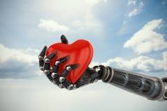 Sammansatt bild av den tredimensionella bilden av cyborgen som rymmer röd hjärtaformgarnering 3d vektor illustrationer