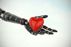 Sammansatt bild av den tredimensionella bilden av cyborgen som visar röd hjärtaform 3d vektor illustrationer