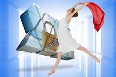 Sammansatt bild av den unga härliga kvinnliga dansaren med den röda halsduken Royaltyfria Bilder