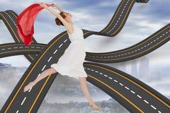 Sammansatt bild av den unga härliga kvinnliga dansaren med den röda halsduken Arkivbild