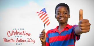 Sammansatt bild av den vinkande amerikanska flaggan för pys royaltyfri fotografi