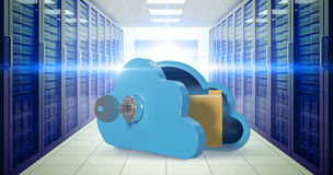 Sammansatt bild av det blåa skåpet i molnform med tangenten och mappen 3d Arkivbild