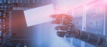 Sammansatt bild av det digitalt frambragda robotic plakatet 3d för mellanrum för arminnehav Royaltyfria Foton