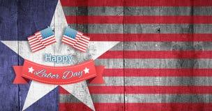Sammansatt bild av det lyckliga textemblemet för arbets- dag med flaggor Royaltyfri Bild