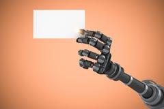 Sammansatt bild av det robotic vita plakatet 3d för arminnehav Royaltyfri Bild