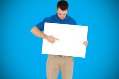 Sammansatt bild av det stiliga visningkortet för ung man Arkivbilder