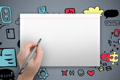 Sammansatt bild av färgpennan för handinnehavsvart Arkivbilder
