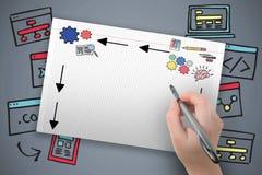 Sammansatt bild av färgpennan för handinnehavsvart Royaltyfri Foto