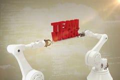 Sammansatt bild av för lagarbete för metallisk robotic hand hållande text över vit bakgrund Royaltyfri Fotografi