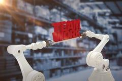 Sammansatt bild av för lagarbete för metallisk robotic hand hållande text över vit bakgrund Arkivfoto
