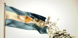 Sammansatt bild av fallande dollar royaltyfri illustrationer