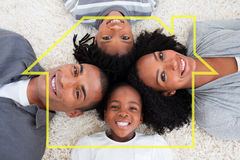 Sammansatt bild av familjen på golv med huvud tillsammans stock illustrationer