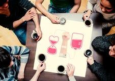 Sammansatt bild av folk som sitter runt om tabellen som dricker kaffe Royaltyfri Foto