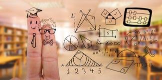 Sammansatt bild av grafiska anthropomorphic smileyframsidor av manliga studenter på fingrar vektor illustrationer