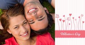 Sammansatt bild av gulliga valentinpar Arkivbild